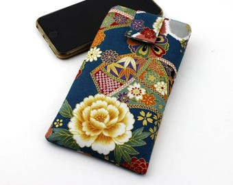 Iphone Plus, Phone Pouch, Iphone 6 Plus, Iphone 6, Fabric Phone Case, Gadget Case, Peony Teal Blue