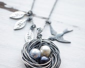 CYBER MONDAY SALE Handcrafted Black Birds Nest Necklace | Customize Number of Eggs and Leaves