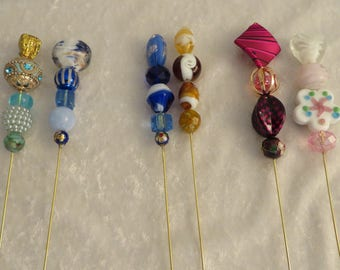 """VICTORIAN STYLE HANDMADE Hatpins 8"""" Long Your Choice Two for One Price Reenactment Civil War Steampunk"""