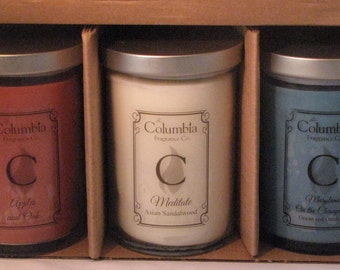 CANDLE GIFT SET - Three 12 oz candles, Choose Your Fragrance, Free Shipping