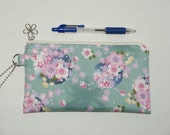 "Padded Zipper Pouch / Pencil Case / Cosmetic Bag Made with Japanese Cotton Kimono Fabric ""Sakura Temari"""