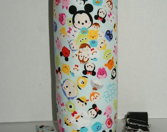 """Insulated Water Bottle Holder for 40oz Hydro Flask / Thermos with Interchangeble Handle/Strap Made with """"Tsum Tsum - Colorful #2"""" Fabric"""