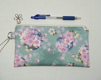 "Padded Zipper Pouch / Pencil Case / Cosmetic Bag Made with Japanese Cotton Kimono Fabric ""Sakura Temari"""