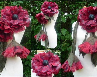 felted wool flower leaf necklace, scarf, lariat, plus brooch, corsage, felt, handmade, sparkle in red, MADE TO ORDER, lagenlook