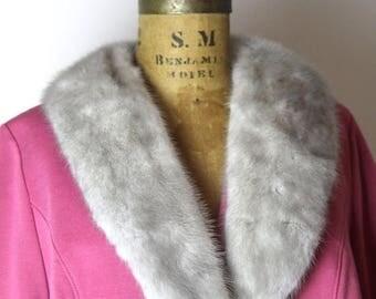 on sale 1960s Pink Wool Blazer with Fur Collar