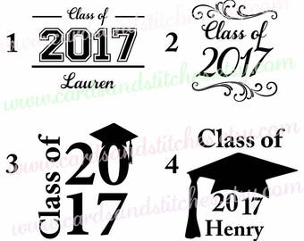 Class of 2017 Decal - Graduation Decal - Vinyl Decal - Yeti Decal - Laptop Decal - Car Decal OR Graduation Iron-on - DIY Iron-on Transfer