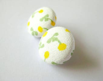 Floral fabric covered button earrings in white, green and lemon yellow