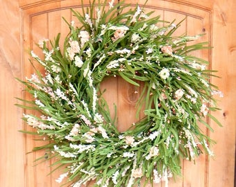 Spring Wreath-Summer Wreath-PEACH Twig Wreath-Spring Door Wreath-Farmhouse Wreath-Summer Wedding Decor-Mothers Day Gift-Housewarming Gift