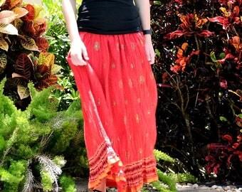Red Maxi Skirt, Hand Sequined Peasant Skirt, Boho Broomstick Skirt, Long Crinkle Skirt, Full Skirt, Bohemian Festival Clothing, Indian Skirt