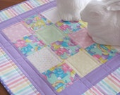 Easter Table Runner Table Topper Cute Quilted Easter Bunny Fabric and Pastel Colored Accents Purple Polka Dot Binding - Easter Table Decor
