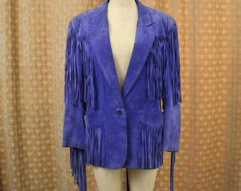 Purple FRINGED Jacket / Vintage Heaily Fringed Suede Coat / Women's Periwinkle Southwest Outerwear