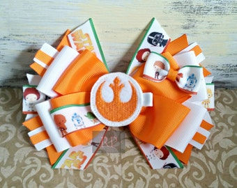 Stacked Boutique Star Wars Hairbow with Rebel Symbol Felt Clip Center - ComicCon Hair Clip -HandSewn Bow - Cosplay - RTS