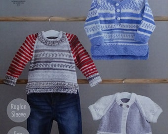 Baby Knitting Pattern K4808 Baby's 2 styles Jumpers & Lace Trim Cardigan Knitting Pattern DK (Light Worsted) King Cole