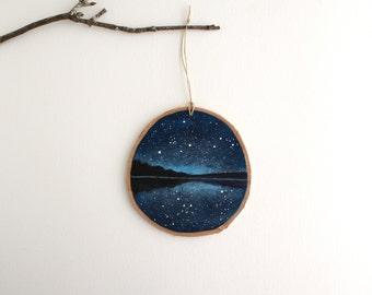 Night Sky Lake Ornament - Hand Painted Christmas Ornament - Woodland Ornament
