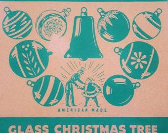 Vintage Shiny Brite Christmas Tree Glass Ornaments Aged Blue In Original Box Set of 12