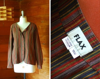 20% OFF FALL SALE / vintage Flax striped cotton top / size medium