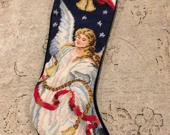 Vintage Needlepoint tapestry angel  blue velvet backing Christmas stocking