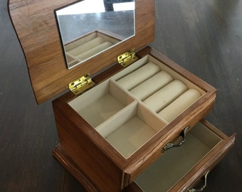 Wood Vintage Drawered Jewelry Box with velvet lined drawer and mirror