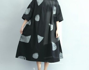 cotton Oversized dress women loose fitting summer dress in white/ black