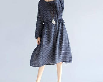 dark blue long dress Loose black cotton dress doll long dress