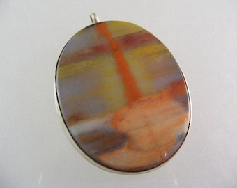 Vintage  Colorful Petrified Wood Sterling Silver Pendant.....  Lot 5090