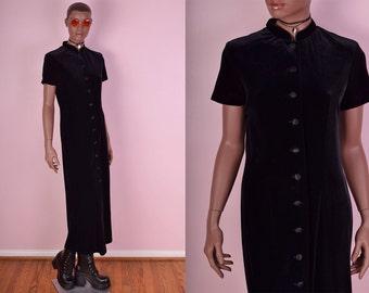 90s Black Velvet Button Down Dress/ US 8/ 1990s/ Maxi
