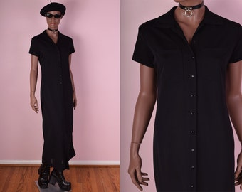 90s Black Button Down Maxi Dress/ Small/ 1990s/ Short Sleeve