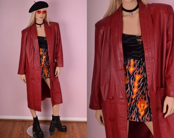 80s Red Leather Coat/ Large/ 1980s/ Jacket