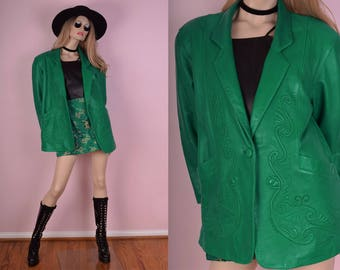 80s Embroidered Green Leather Jacket/ Large/ 1980s/ Coat