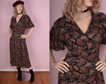 90s Floral Print Dress/ US 7-8/ 1990s/ Short Sleeve