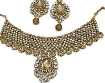 Wedding jewelry set,Indian Bollywood Kundan fashion, Bridal jewelry set, Antique gold, Champagne Crystal bridal bib necklace earrings