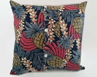 Pineapple Hawaiian Shirt  Pillow Cover 16 Inch Square Upcycled 16 X 16 Brown, Black, Red