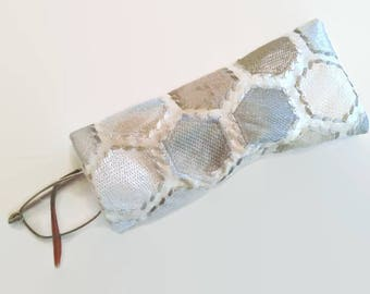 Tan and Silver Hexagon Upcycled Soft Eyeglass Case Sunglasses Holder, Repurposed Fabric Sample