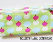 Budgeting wallet with dividers | green, fuchsia, blue, cream laminated cotton