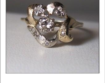 Vintage 14k Diamond Floral Cluster Ring - Magic Glo