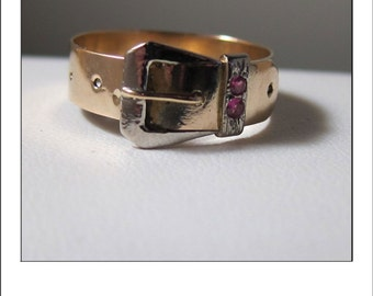 Antique Victorian 14k Buckle Ruby Ring