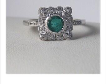 Estate 18k Columbia Emerald  Diamond Halo Engagement Ring