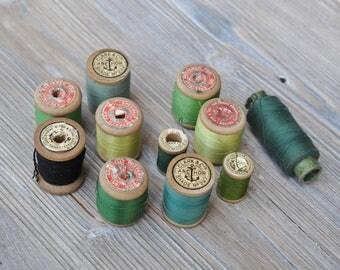 Vintage Green Thread-SINGER/CLARK&Co.