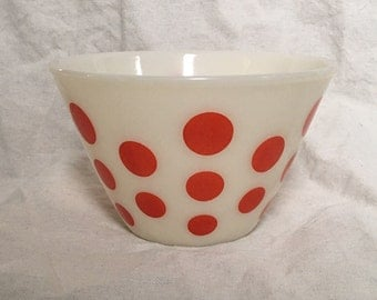 "Fire King Oven Ware Red Dot Bowl, 6.5""dia"