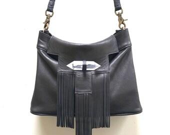 Crystal Templar Black Leather Fringe Bag