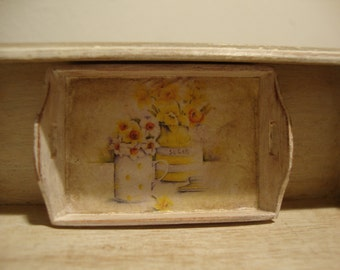Miniature dollhouse wooden tray shabby chic