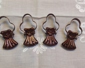 Vintage French brass curtain clips, set of 4, clip holders