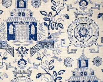 """Two 96"""" x 50""""  Custom LINED Curtain Panels - Chinoiserie Toile - Pagoda Temple Medallion -  Blue  /Natural"""
