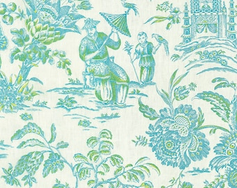 Two 26 x 26  Designer Decorative Pillow Covers - Chinoiserie Asian Toile - Blue Lagoon