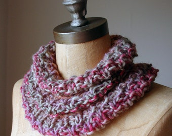 Flat Tyre on a Rainy Night, Knitted Snood in autumnal reds, oranges and yellows, Women's Cowl, Autumn Fashion