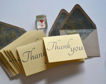 Blue and Gold Cursive Thank You Note Set of 8 with Floral Lined Envelopes