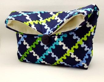 Foldover clutch, Fold over bag, clutch purse, evening clutch, wedding purse, bridesmaid gifts - Mickey (Ref. FC47 )