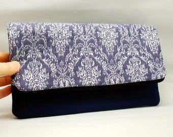 Foldover zipper clutch, zipper pouch, wedding purse, evening clutch, bridesmaid gifts set - Damask (Ref. FZ15)