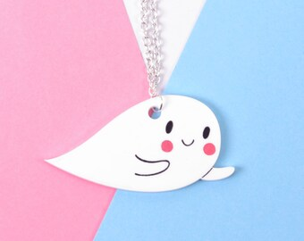 Gifts For Her - Gifts For Teens - Teenager Gifts - Ghost Necklace - Stocking Filler - Stocking Stuffer - Ghost Acrylic Jewellery