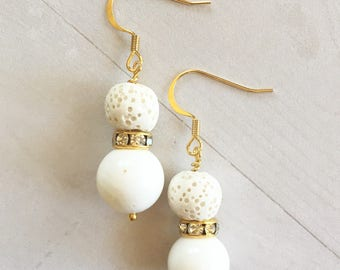 Essential Oil Diffuser Earrings White Lava Stone and Bead with Rhinestone Rondelle